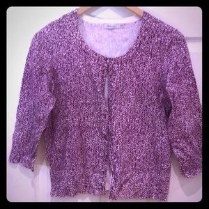 Purple and White Patterned Cardigan